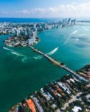 Aerial view of Miami islands on a sunny day stock photos