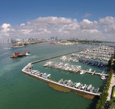 Aerial view of Miami marina royalty free stock photos