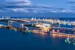 Aerial view of Miami at night Stock Photos