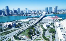 Aerial view of Miami Port and city skyline, Florida.  Royalty Free Stock Photo