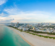 Aerial view of Miami South Beach with hotels and coastline Stock Photo