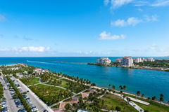 Aerial View of Miami South Pointe Park Royalty Free Stock Photography