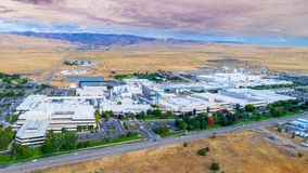 Aerial view of Micron Boise facility with foothills and clouds Stock Photography