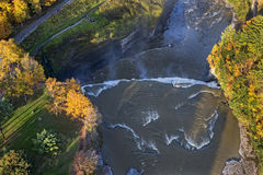 Aerial View Of The Middle Falls At Letchworth State Pa Royalty Free Stock Images