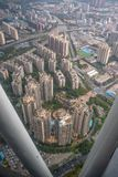 Aerial view of midtown of Guanzhou city with sunlight stock images