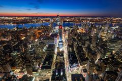 Aerial view of Midtown West Manhattan with new Hudson Yards skyscrapers under contruction at twilight. Manhattan, New York City. New York City, NY, USA - Mach 11 royalty free stock photos