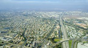 Aerial view of Midway District, San Diego. Aerial view of Midway District neighborhood and San Diego International Airport (Lindbergh Field), in Southern royalty free stock photos