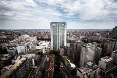 Aerial view of Milan, with the famousest skyscrape Royalty Free Stock Photography