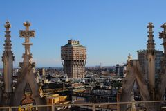 Aerial view of Milan with Torre Velasca from Duomo roof terrace Stock Photo