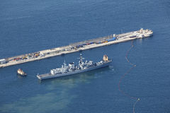 Aerial view of military frigate Royalty Free Stock Photography