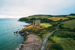 Aerial view of the Minard Castle situated on the Dingle Peninsula in Ireland stock images