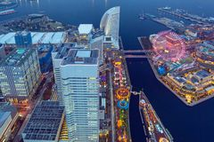 Aerial view of of Minato Mirai 21 district in Yokohama at night. Yokohama, Japan - November 8, 2016 : Aerial view of of Minato Mirai 21 district in Yokohama at Royalty Free Stock Images