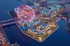 Aerial view of of Minato Mirai 21 district in Yokohama at night. Yokohama, Japan - November 8, 2016 : Aerial view of of Minato Mirai 21 district in Yokohama at Royalty Free Stock Photography