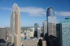 Aerial view of Minneapolis skyline. A picture of Minneapolis skyline from an aerial perspective stock images