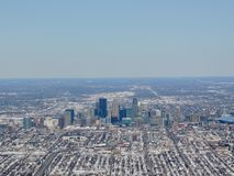 Aerial view of Minneapolis which is a major city in Minnesota in the United States, that forms `Twin Cities` with the neighboring. State capital of St. Paul stock photography