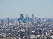 Aerial view of Minneapolis which is a major city in Minnesota in the United States, that forms `Twin Cities` with the neighboring. State capital of St. Paul royalty free stock photography