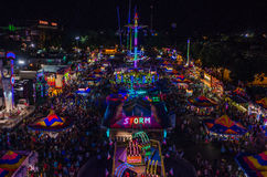 Aerial view of the Minnesota State Fair Midway at night. Midway at night at the Minnesota State Fair 2013 stock photos