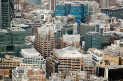 Aerial View, Minster Court, City of London. View from above of the City of London financial district with the Gothic inspired Minster Court in the centre Stock Image