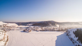 Aerial view of Minyar city in Chelyabinsk region at winter Stock Images