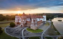 Aerial view of Mir Castle, Belarus Stock Photos