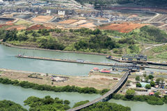 Aerial view of Miraflores locks and the construction of a wider Stock Images