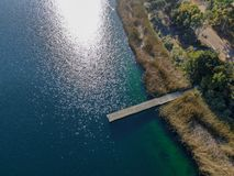 Aerial view of Miramar reservoir in the Scripps Miramar Ranch community, San Diego, California. Miramar lake, popular activities recreation site including royalty free stock images