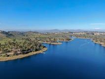 Aerial view of Miramar reservoir in the Scripps Miramar Ranch community, San Diego, California. Miramar lake, popular activities recreation site including stock photography