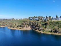 Aerial view of Miramar reservoir in the Scripps Miramar Ranch community, San Diego, California. Miramar lake, popular activities recreation site including royalty free stock photos
