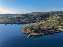 Aerial view of Miramar reservoir in the Scripps Miramar Ranch community, San Diego, California. Miramar lake, popular activities recreation site including royalty free stock photography
