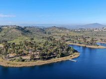 Aerial view of Miramar reservoir in the Scripps Miramar Ranch community, San Diego, California. Miramar lake, popular activities recreation site including stock image