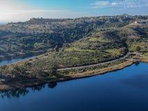 Aerial view of Miramar reservoir in the Scripps Miramar Ranch community, San Diego, California. Miramar lake, popular activities recreation site including stock photo