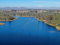 Aerial view of Miramar reservoir in the Scripps Miramar Ranch community, San Diego, California. Miramar lake, popular activities recreation site including royalty free stock image