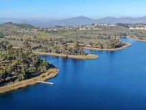 Aerial view of Miramar reservoir in the Scripps Miramar Ranch community, San Diego, California. Miramar lake, popular activities recreation site including stock photos