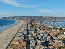 Aerial view of Mission Bay & Beaches in San Diego, California. USA. Community built on a sandbar with villas, sea port.  & recreational Mission Bay Park stock image