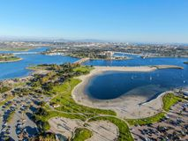Aerial view of Mission Bay & Beaches in San Diego, California. USA. Community built on a sandbar with villas, sea port.  & recreational Mission Bay Park stock images