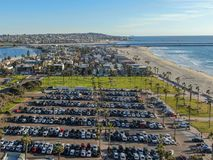 Aerial view of Mission Bay & Beaches in San Diego, California. USA. Community built on a sandbar with villas, sea port.  & recreational Mission Bay Park royalty free stock images