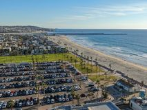 Aerial view of Mission Bay & Beaches in San Diego, California. USA. Community built on a sandbar with villas, sea port.  & recreational Mission Bay Park royalty free stock photography