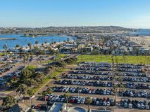 Aerial view of Mission Bay & Beaches in San Diego, California. USA. Community built on a sandbar with villas, sea port.  & recreational Mission Bay Park stock photography