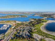 Aerial view of Mission Bay & Beaches in San Diego, California. USA. Community built on a sandbar with villas, sea port.  & recreational Mission Bay Park stock photo