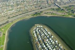 Aerial view of Mission Bay, San Diego. An aerial view of San Diego Mission Bay in southen California, United States of America. A view of the coastline, De Anza Royalty Free Stock Photography