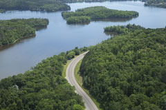 Aerial view of Mississippi River in Minnesota. An aerial view of the Mississippi River and a curving road near Brainerd, Minnesota stock photo