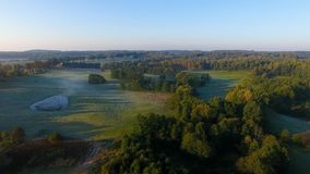 Misty countryside, top view stock footage