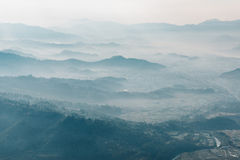 Aerial view of a misty morning near Pokhara Stock Image