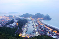 Aerial view of misty sunrise at Nanfangao harbor, a fishing village northeast to Taipei Taiwan ~ Stock Photography
