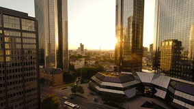 Aerial view of modern banking district in frankfurt. Skyline cityscape background at sunset sky stock video
