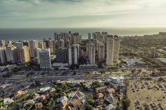 Aerial view of modern Brazilian city at sunset Royalty Free Stock Photos
