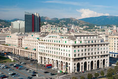 Aerial view of modern buildings in the Piazza della Vittoria in Genoa Royalty Free Stock Image