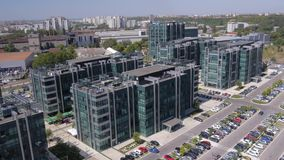 Aerial view of modern business buildings stock video footage