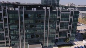 Aerial view of modern business buildings stock video