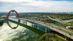 Aerial View Modern Cable-stayed Zhivopisny Bridge, Moscow Stock Image